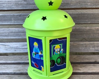 A fun construction building bricks Lantern, Nightlight.   Perfect for bedside or bathrooms, includes battery tea light