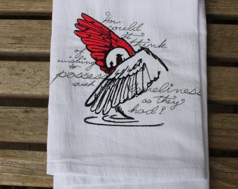 A Beautifully drawn stylized Ugly Duckling is embroidered on a white flour sack tea towel, dish towel, cotton