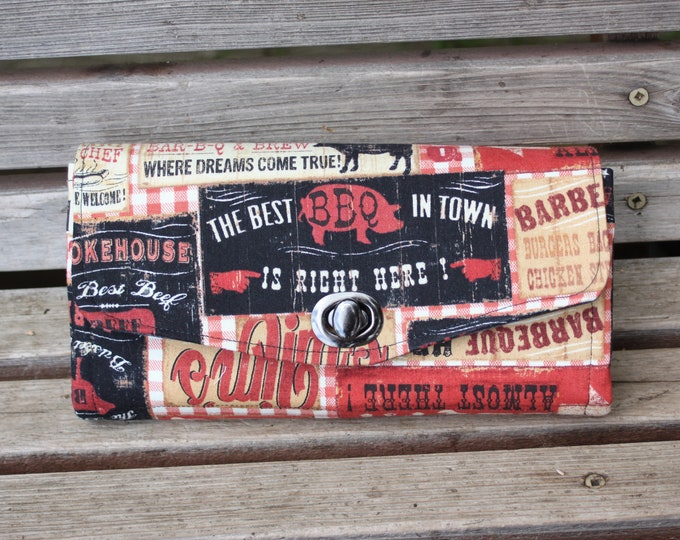 Featured listing image: BBQ Barbeque signs advertising wallet, based on the NCW pattern, Accordian wallet. Lots of places for necessities, so handy and roomy.