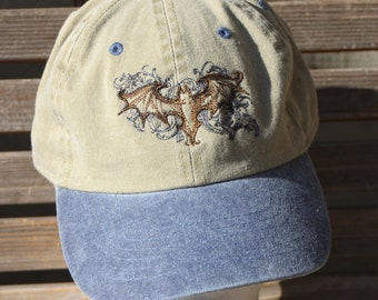 A bat is  Embroidered on a Baseball Hat Cap, Adjustable hat, adult, dad hat, trucker hat