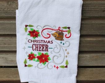 Christmas Cheer embroidered on a white flour sack tea towel, dish towel, cotton