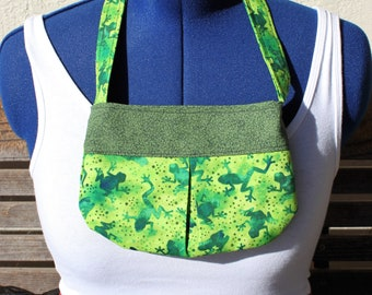 Green Batik frogs small bag, child sized or small purse.  Lined in Coordinated cotton
