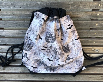 Bats, bat skeleton, bat drawings Drawstring backpack, a fun accessory for any outfit, Canvas lined and bottom for durability, pocket