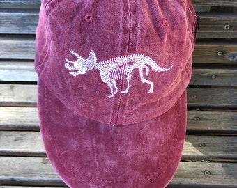 Triceratops skeleton bones dinosaur is Embroidered on a Baseball Hat Cap, Adjustable hat, adult, dad hat, trucker hat