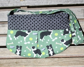 Little girl pleated border collie dog small bag, child sized or small purse.  Lined in Coordinated cotton