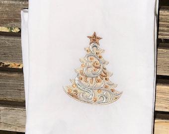 A Beautiful Christmas Tree is embroidered on a white flour sack tea towel, dish towel, cotton