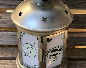 DC Superhero logo  Lantern, Nightlight.   Perfect for bedside or bathrooms, includes battery tea light.  Glow in the dark or tea light