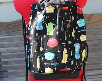 Retro Appliance kitchen backpack, a fun accessory for any outfit, Canvas lined and bottom for durability, inside pocket