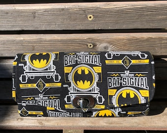 Batman Bat Signal fabric wallet, based on NCW pattern, Accordian wallet. Lots of places for necessities, handy, roomy.  Clutch and Crossbody