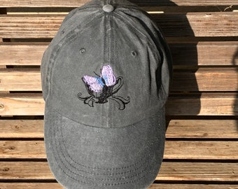Butterfly in a teacup is  Embroidered on a Baseball Hat Cap, Adjustable hat, adult, dad hat, trucker hat