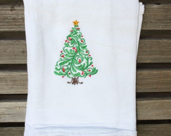 A Beautiful Christmas Tree is embroidered on a white flour sack tea towel, dish towel, cotton