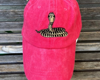 A rattlesnake is  Embroidered on a Baseball Hat Cap, Adjustable hat, adult, dad hat, trucker hat
