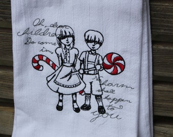 A Beautifully drawn stylized Hansel and Gretel Brothers Grimm is embroidered on a white flour sack tea towel, dish towel, cotton