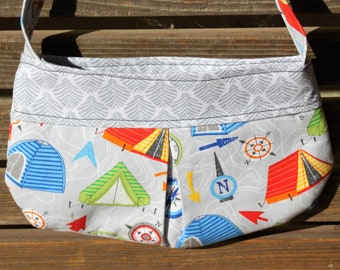 Tent and compas, camping small bag, child sized or small purse.  Lined in Coordinated cotton