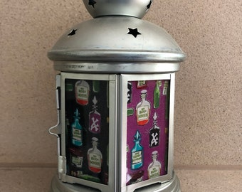 Poison, magic bottles, Lantern, Nightlight.   Perfect for bedside or bathrooms, includes battery tea light