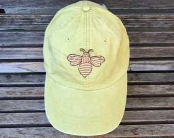 A Bee is  Embroidered on a Baseball Hat Cap, Adjustable hat, adult, dad hat, trucker hat