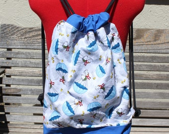Peanuts Snoopy Woodstock Drawstring backpack, a fun accessory for any outfit, Canvas lined and bottom for durability, inside pocket