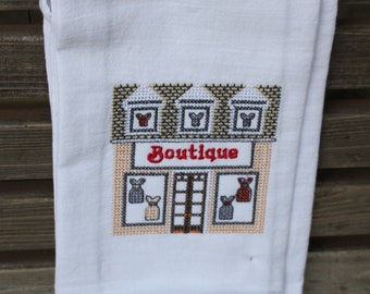 Boutique Store in a cross stitch style embroidered on a white tea towel, dish towel, flour sack, cotton, large