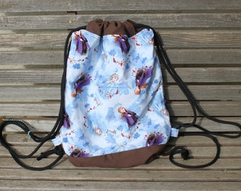 Disney Frozen Anna and Elsa Drawstring backpack, a fun accessory for any outfit, Canvas lined and bottom for durability, pocket