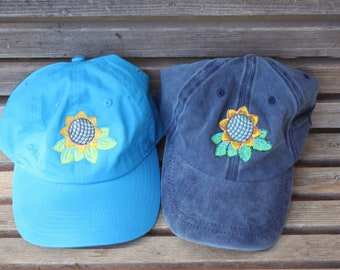 Sunflower  Embroidered on a Baseball Hat Cap, Adjustable hat, adult, dad hat, trucker hat