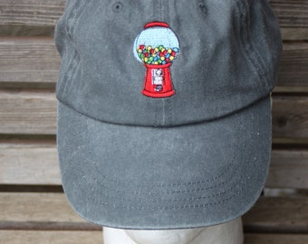 A gumball machine, bubblegum  Embroidered on a Baseball Hat Cap, Adjustable hat, adult, dad hat, trucker hat