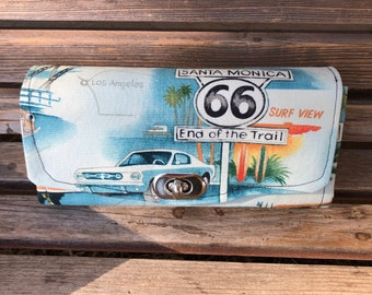 Rt Route 66 wallet, based on the NCW pattern, Accordian wallet.  places for necessities,removable crossbody and wrist strap
