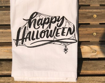 Happy Halloween embroidered on a white flour sack tea towel, dish towel, cotton,