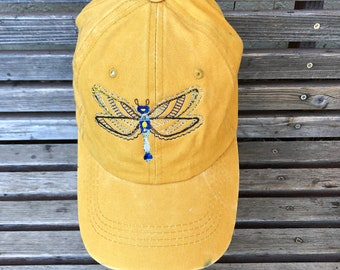 A Dragonfly is  Embroidered on a Baseball Hat Cap, Adjustable hat, adult, dad hat, trucker hat