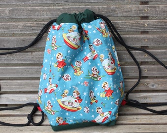 Vintage Retro kids in space Drawstring backpack, a fun accessory for any outfit, Canvas lined and bottom for durability, inside pocket