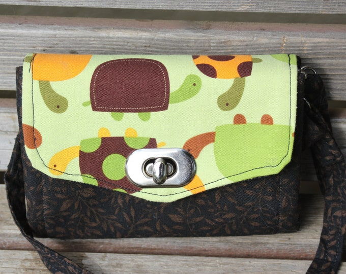 Featured listing image: Turtle mini-wallet, based on the NCW pattern, Accordian wallet. Lots of places for necessities,removable crossbody and wrist strap