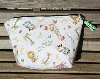 Nursery Baby animal small fabric vinyl lined bag, perfect for snack, cosmetics, makup or even as a unique purse