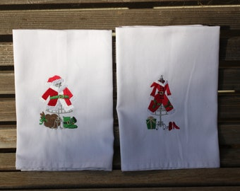 Santa and Mrs Claus Clothing embroidered napkins, Dinner Napkins 19x19 White, 100% Cotton, set of 2