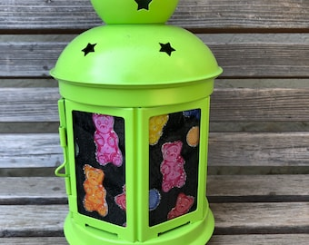 Fun gummy bear Lantern, Nightlight.   Perfect for bedside or bathrooms, includes battery tea light