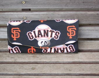 SF Giants MLB fabric wallet, based on NCW pattern, Accordian wallet. Lots of places for necessities, handy, roomy.  Clutch and Crossbody