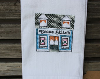 Cross Stitch Store in a cross stitch style embroidered on a white tea towel, dish towel, flour sack, cotton, large