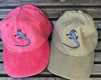 A Komodo dragon lizard  is  Embroidered on a Baseball Hat Cap, Adjustable hat, adult, dad hat, trucker hat