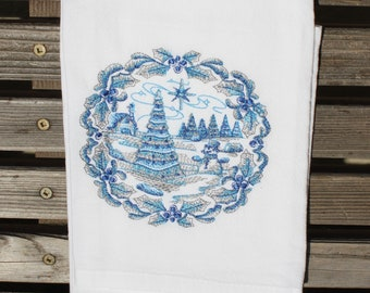 A Beautiful Christmas Tree delft blue is embroidered on a white flour sack tea towel, dish towel, cotton