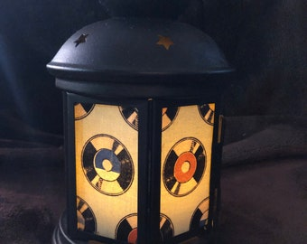 A fun Records Lantern, Nightlight.   Perfect for bedside or bathrooms, includes battery tea light