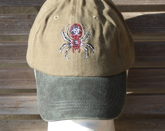 A spider is  Embroidered on a Baseball Hat Cap, Adjustable hat, adult, dad hat, trucker hat