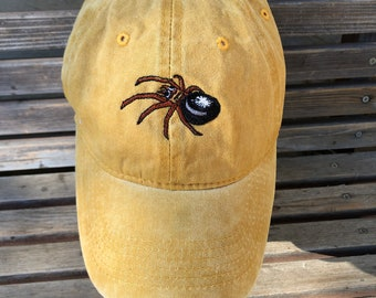 Spider Embroidered on a Baseball Hat Cap, Adjustable hat, adult, dad hat, trucker hat black widow