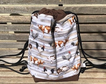 Barnyard, Cow, Pig, Chicken Barn Drawstring backpack, a fun accessory for any outfit, Canvas lined and bottom for durability, inside pocket