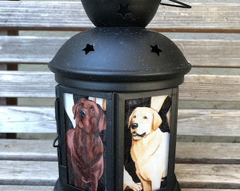 A fun Labrador Dog, pet Lantern, Nightlight.   Perfect for bedside or bathrooms, includes battery tea light