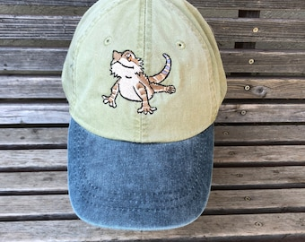 Bearded Dragon Lizard Gecko Reptile Embroidered on a Baseball Hat Cap, Adjustable hat, adult, dad hat, trucker hat