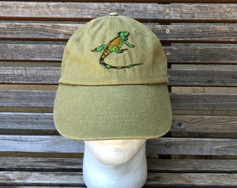 An iguana lizard gecko reptile Embroidered on a Baseball Hat Cap, Adjustable hat, adult, dad hat, trucker hat