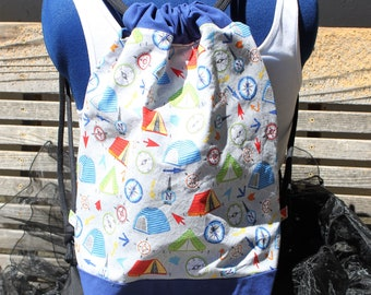 Tents and Compass Camping Drawstring backpack, a fun accessory for any outfit, Canvas lined and bottom for durability, inside pocket