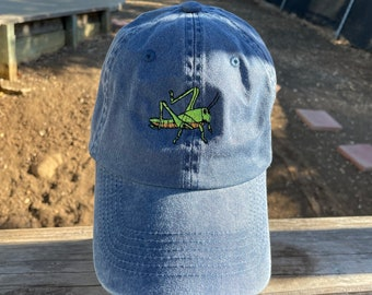 A grasshopper cricket is  Embroidered on a Baseball Hat Cap, Adjustable hat, adult, dad hat, trucker hat