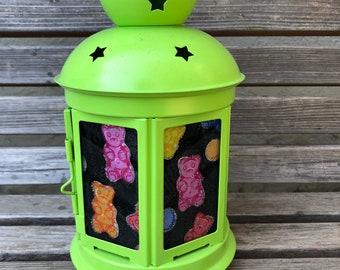 Fun gummy bear Lantern, Nightlight.   Perfect for bedside or bathrooms, includes battery tea light