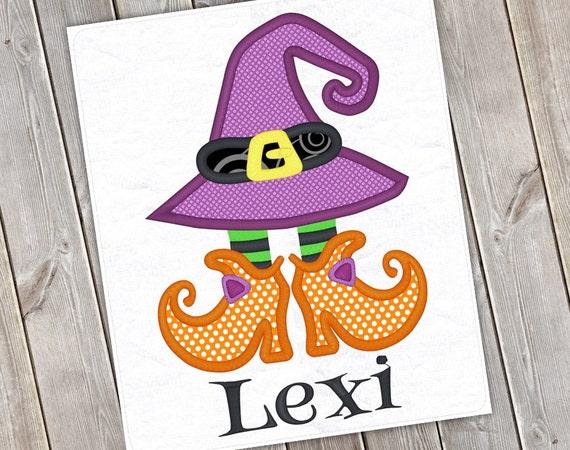 Cappello della strega e scarpe Halloween macchina Applique Design 1100 917d9eca4c7a