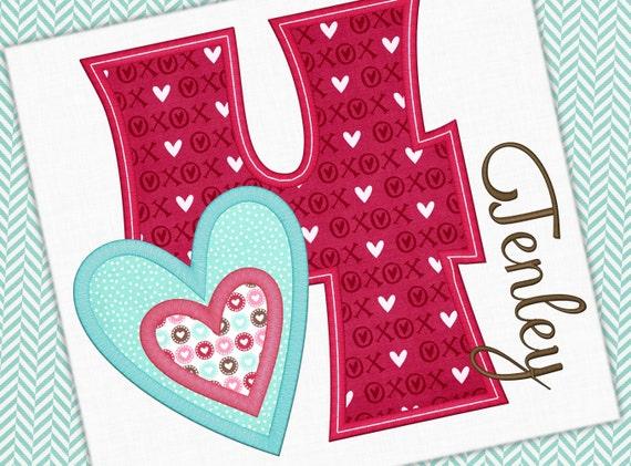 Valentine Applique Design Number 4 Birthday Love Design Etsy