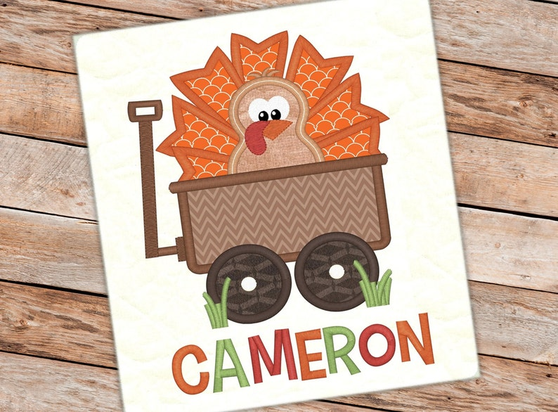 Thanksgiving turkey wagon applique thanksgiving design turkey etsy